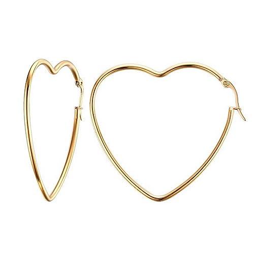eb33d0e531555 Mengpa Titanium Steel Women's Hoop Earrings In Gold Silver Black