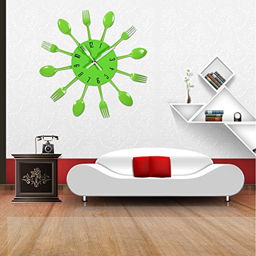 Exiu Kitchen Cutlery Wall Clock For Home Decor Green Kitchen In The Uae See Prices Reviews