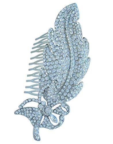 Sindary Wedding Headpiece 4.53'' Leaf Bridal Hair Comb Silver Tone Clear Rhinestone Crystal HZ4756 by Wedding Hair Accessories-Sindary Jewelry