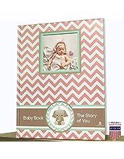 Elephant Baby Girl Memory Book - Newborn Journal Pink - Baby First Year Book Album - Baby Shower Book Gift - Baby Keepsake Milestone Memory Journal - First Year Newborn Girl Book