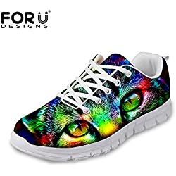 FOR U DESIGNS Cute Cat Print Women's Comfort Walking Sport Skate Running Shoes US 8