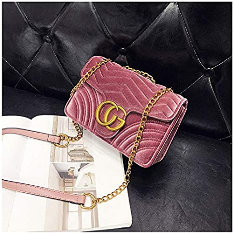 723f61692edf Gentle C GC Marment Style 443497 Velvet Shoulder Bag Women's Velvet Simple  Elegant Quilted Shoulder Bag Stylish Crossbody Bag Golden Chain-Small Pink