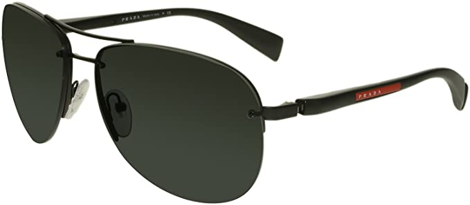 e1dd13517ce4 Amazon.com: Prada Sport PS56MS 1BO1A1 Black PS56MS Pilot Sunglasses ...