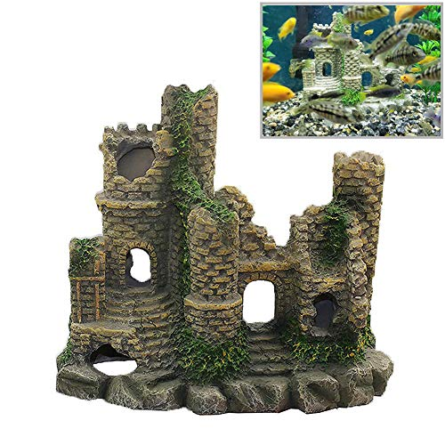 (Ancient Castle Cave Resin Roman Column Aquarium Decorations Fish Tank Rock Ruins Plants Decor Aquarium Decoration Ornaments Castle One Size)