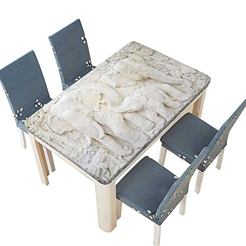 PINAFORE Solid Tablecloth Elephant Sculpture is Made of a Stone Table Cover W61 x L100 INCH (Elastic Edge)