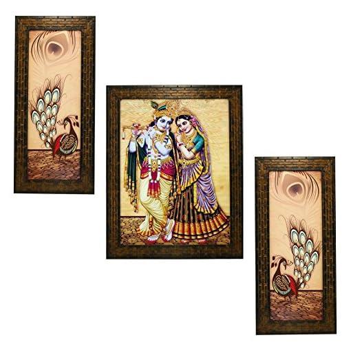 Indianara 3 PC Set Of Radha Krishna Art Paintings