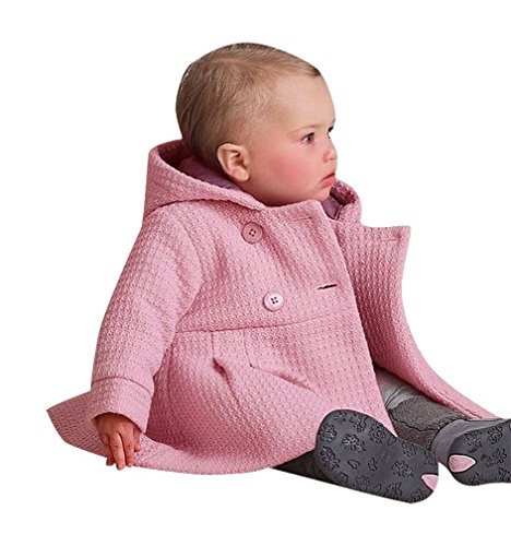 Sweety, Baby Girl Hooded Jacket Stylish Soft Jacquard Hoodie Warm Cotton Lining,Pink 4-6 Months ()