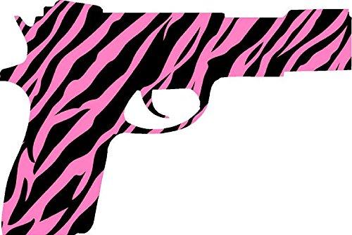 Pink Zebra Pistol Sticker