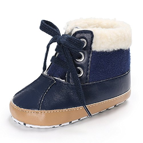 Meeshine Baby Boys Girls Plush Lace Up Snow Boots Newborn Infant Toddler Winter Warm Non-Slip Soft Sole Prewalker Crib Shoes(Large(12-18 - Boots Childrens Walking