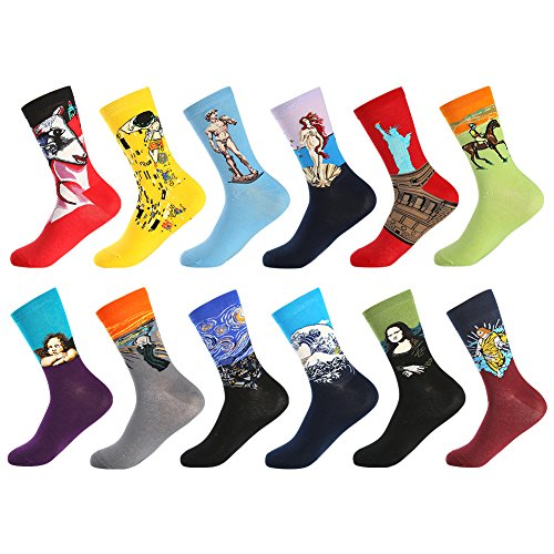 Bonangel Men's Fun Dress Socks-Colorful Funny Novelty Crew Socks Pack,Art Socks ()
