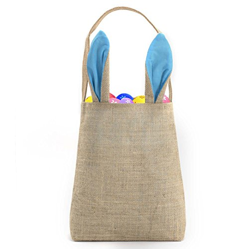 """Best Easter Bunny Bag - Easter Basket Tote Handbag - Dual Layer Bunny Ears Design Jute Cloth Material - Excellent for Carrying Eggs Gifts to Easter Party, 10"""" x 4"""" x 12"""", Hessian-Light Blue-T19 (Grass Purse)"""
