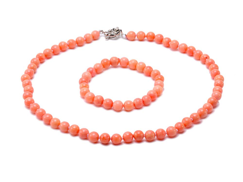 JYX Corals Jewelry Set Coral Necklace Bracelet 8mm Light Pink Sea Bamboo Coral Jewelry for Women by JYX Pearl