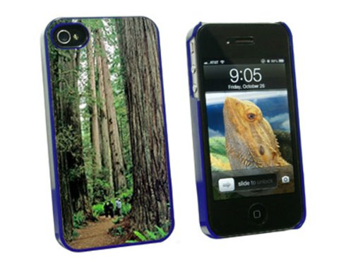 Graphics and More Redwood National Park CA - Snap On Hard Protective Case for Apple iPhone 4 4S - Blue - Carrying Case - Non-Retail Packaging - Blue (Redwood Parka)
