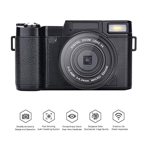 QLPP Digital Camera 24MP 1080P Video Camcorde with 3.0 inch TFT LCD Screen 4X Digital Zoom Face Detect Anti-Shake Electronic Stablizer and 32GB SD Card Supported
