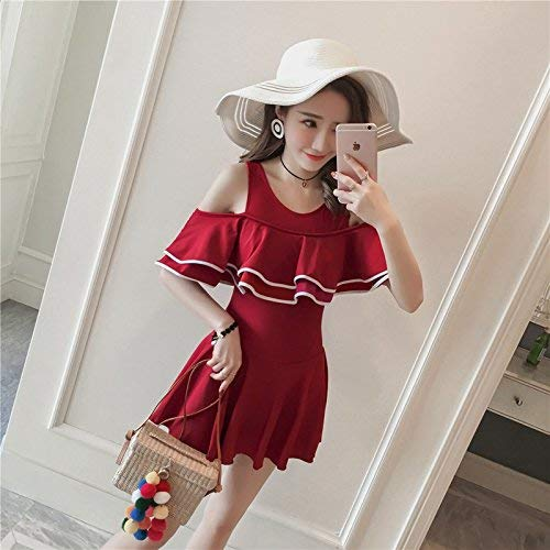 Chest Skirt Small Come Series Twin Qiusa Spa Taglia Unica Flat Conservative Sexy Nero President Wine Dimensione Swimsuit colore Red L Poverty Mostrato Mostrato Style UZvUXz