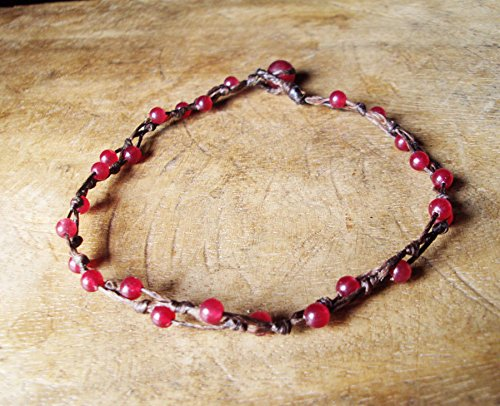 Ruby anklets,Stone anklets,Red anklets,Handmade anklets,Fashion anklets,Women anklets