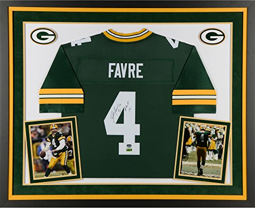 Brett Favre Green Bay Packers Deluxe Framed Autographed Green Proline Jersey with