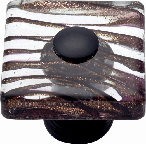 (Atlas Homewares 3205-O Glass Oil Rubbed Bronze 1.5-Inch Milky Way Square)