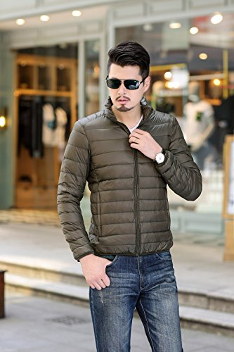 Green Army Coat Jacket Lightweight Warm Down Plain Padded Quibine Men's Stripe S8zqqvw