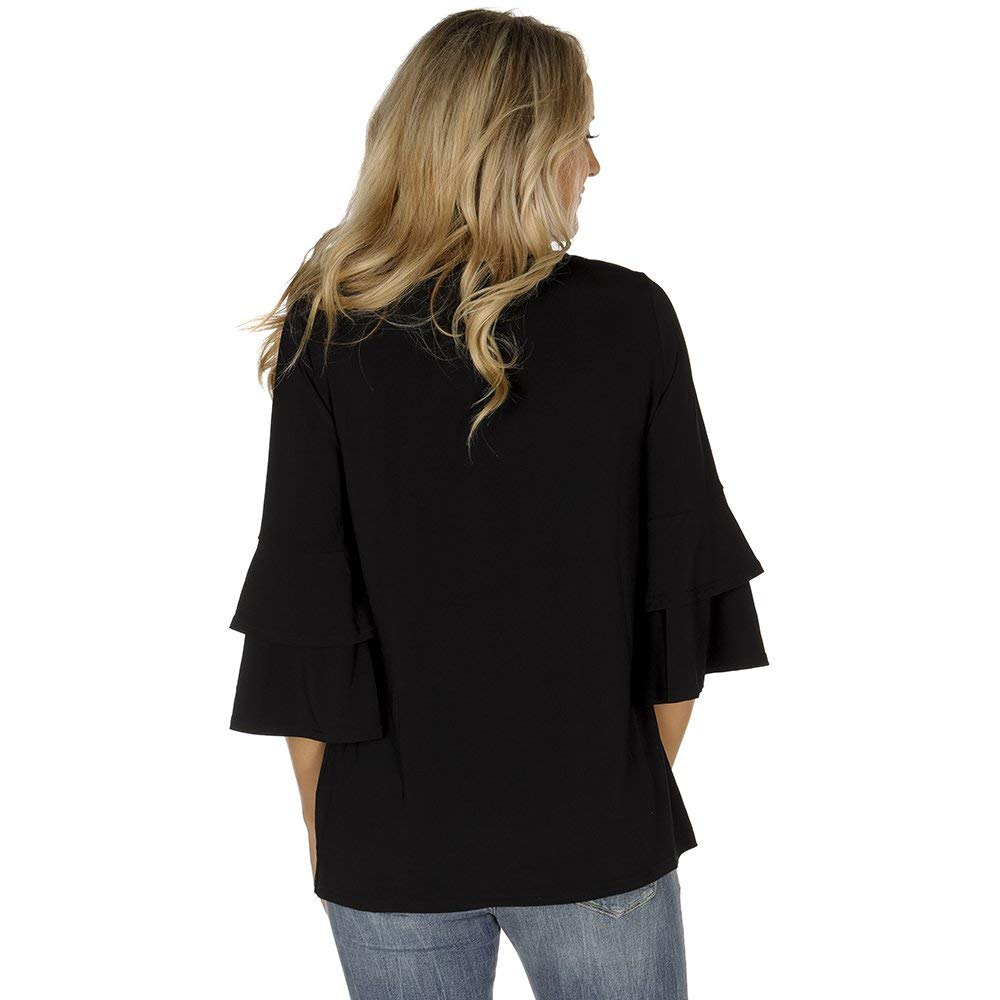 NRS Womens 3//4 Sleeve Black Top with Bell Sleeves