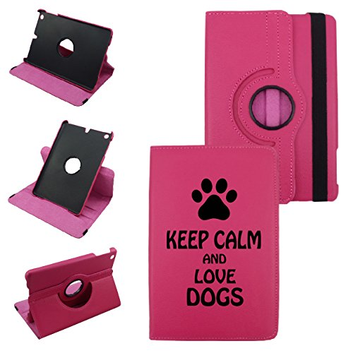 Keep Calm And Love Dogs On iPad Mini 4 Leather Rotating Case 360 Degrees Multi-angle Vertical and Horizontal Stand with Strap (Hot Pink)