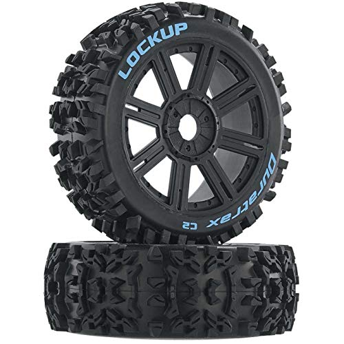 Duratrax Lockup 1:8 Scale RC Buggy Tires with Foam Inserts, C2 Soft Compound, Mounted on Black Wheels (Set of 2) ()
