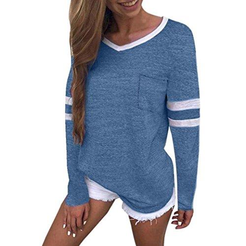 (Long Sleeve Women Tops Ladies Cat Printing O-Neck T-Shirt Long Sleevel Tops Blouse ❤️ ZYEE (Blue1, M))