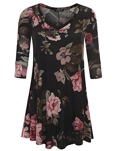 (A.F.Y All For You Women's 3/4 Sleeve V-Neck Flare Hem Tunic Patterned Black Rose 61140 Medium)