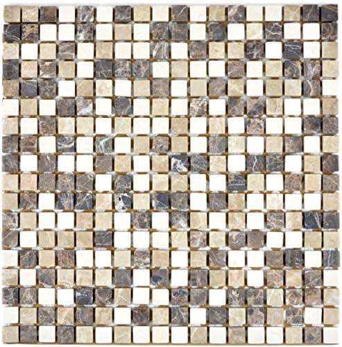 Mosaik MOS38-1213 Carrelage en marbre naturel Beige marron Castanao Biancone