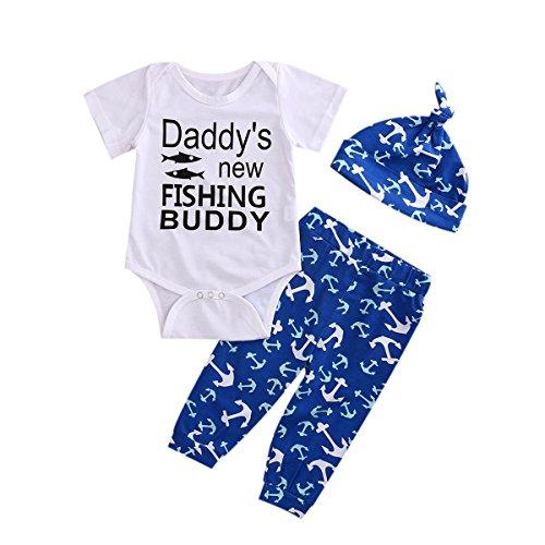 Villy Infant Baby Boy Girl Anchor Pant Set + Hat Outfits Sunsuit 3 Piece Clothes Set (6-12 Months, Blue)