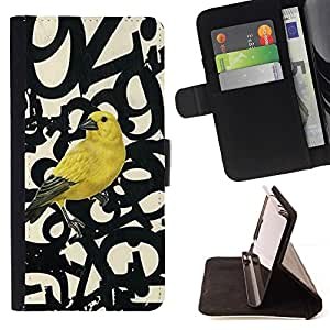 Momo Phone Case / Flip Funda de Cuero Case Cover - Bird Letras Números texto Beige - Samsung Galaxy A5 ( A5000 ) 2014 Version