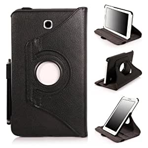 E LV 360 Rotating Degrees Luxury Rotating Stand PU Leather Smart Case Cover Shell for Samsung Galaxy Tab 4 7 inch (2014) with 1 Stylus