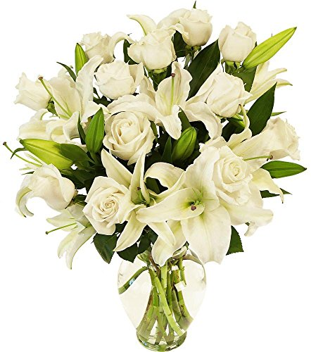 - Benchmark Bouquets White Roses and White Oriental Lilies, With Vase