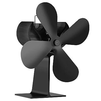 Sunlera 4 Gran Negro Hojas de Calor silencioso Ventilador de circulación de Calor Ventilador accionado Estufa grabadora de Registro chimeneas Eco Friendly: ...