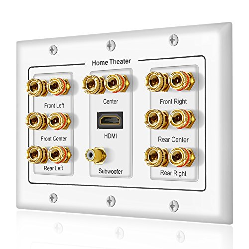 7.1 Home Theater Banana Binding Post Coupler Type Wall Plate for 7 Speakers, 1 RCA Jack for Subwoofer & 1 HDMI Port