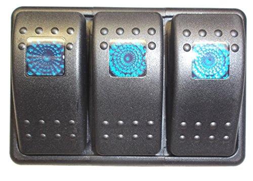 Lighted Rocker Panel Switch (Fastronix Lighted 3 Rocker Switch Panel Auto/Marine (Blue))