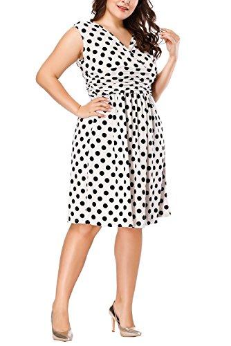 Preferhouse Dress Polka Length Whitedot Special Dots 16W Party Knee 2XL Women's 1PAwrxHtq1