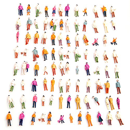 100 Pcs HO Scale Models People Set, Liangxiang 1:100 Scale DIY Resin Colorful Painted Mixed Seated and Standing People Figures Models Train Park Street Passengers Sitting Pose - HO TT (100 PCS)