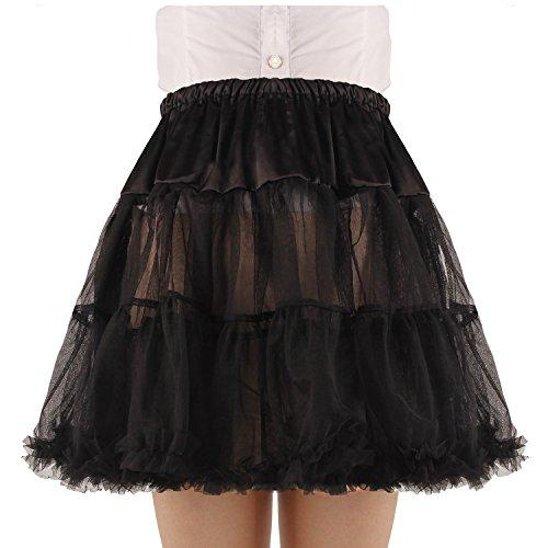 Tulle Mini Petticoat Skirt (Shimaly Women's Princess Layered Puff Skirt Mini Tutu Skirt Short Petticoat (S-M, Black))