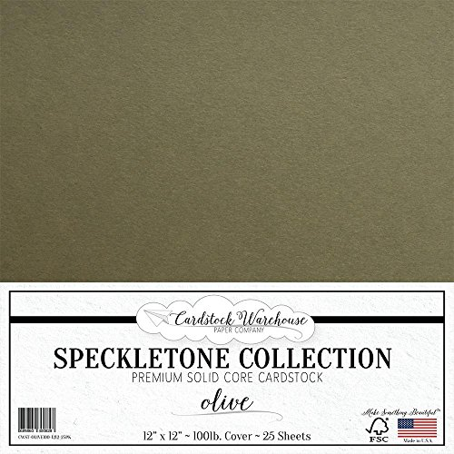 Olive Green SPECKLETONE Recycled Cardstock Paper - 12 x 12 inch - Premium 100 LB. Cover - 25 Sheets