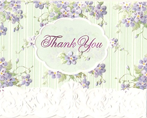 Carol Wilson Fine Arts Inc. - Lilacs & Teal- Blank Thank You Boxed Note Cards with Envelopes - 10 count - byt0128