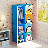 Koossy Expandable Clothes Closet Wardrobe Cupboards Armoire Storage Organizer, Capacious & Sturdy 8 Cube Blue, 74 x 47 x 147 cm