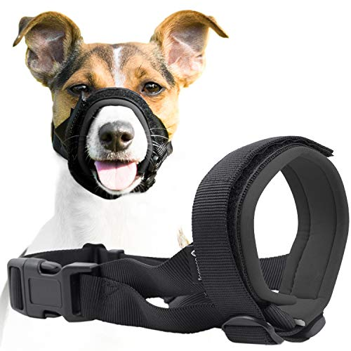 - Gentle Muzzle Guard for Dogs - Prevents Biting and Unwanted Chewing Safely Secure Comfort Fit - Soft Neoprene Padding - No More Chafing - Training Guide Helps Build Bonds with Pet (XL, Grey)
