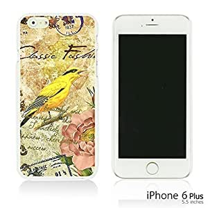 OnlineBestDigital - Art Paintings Hardback Case for Apple iPhone 6 Plus (5.5 inch) Smartphone - Vintage Painting Birds and Flowers