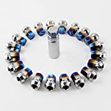 Meiyiu Rays Grilled Blue Drive Lug Nuts Stainless Steel Wheel Nuts and Anti-Theft Screw M12 1.5 20Pcs