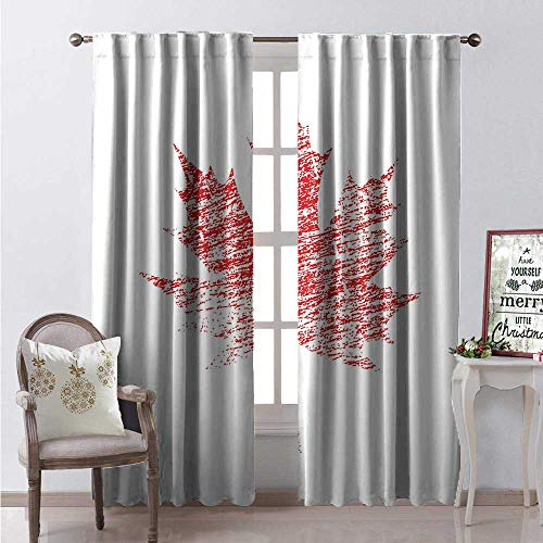 Hengshu Canada Window Curtain Fabric Maple Tree Leaf Grunge Effect Canadian National Symbol Aged Look Grunge Drapes for Living Room W120 x L108 Vermilion -