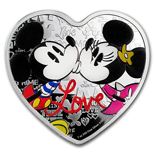 Shaped Silver Coin (2019 NZ Niue 1 oz Silver $2 Disney Heart-Shaped Love Coin Proof 1 OZ Brilliant Uncirculated)