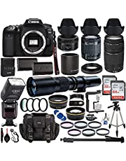 $1699 » Canon EOS 90D DSLR Camera w/ 18-55mm Lens + Canon 75-300mm III Lens, Canon 50mm f/1.8 & 500mm Preset Lens + Camera Case + 96GB Memory + Spare LPE6 Battery + Dedicated TTL Flash + Professional Bundle