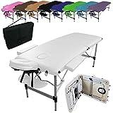 Vivezen ® Table de massage pliante 2 zones en aluminium + accessoires et housse de transport - Norme CE - Blanc