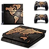 eSeeking Whole Body Vinyl Skin Sticker Decal Cover for PS4 Console and 2PCS Controllers Skins Vintage World Map